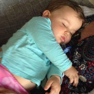 My grandson Graeme, napping on me.