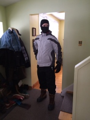 Christian in his Northern NInja attire, getting ready to walk out into the snowstorm
