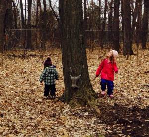Penelope amd Graeme looking for the squirrel, fall 2015
