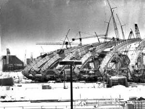 Construction of the Olympic Stadium, Montreal