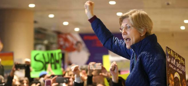 Elizabeth Warren at Logan airport, January 28th 2017