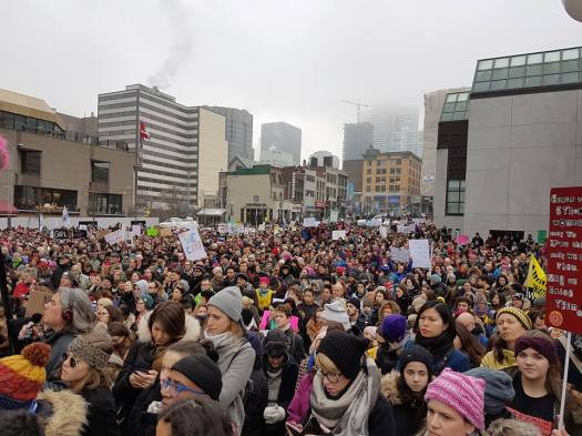 The Women's March in Montreal, January 21st, 2017 Photo by Cindy Canavan