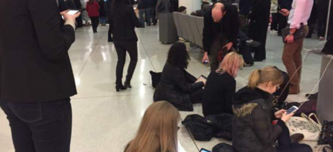 Volunteer lawyers at JFK preparing petitions for detainees, January 28th 2017